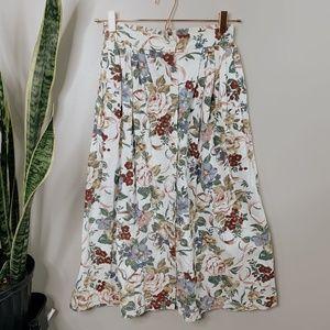 • VINTAGE • floral button down midi skirt